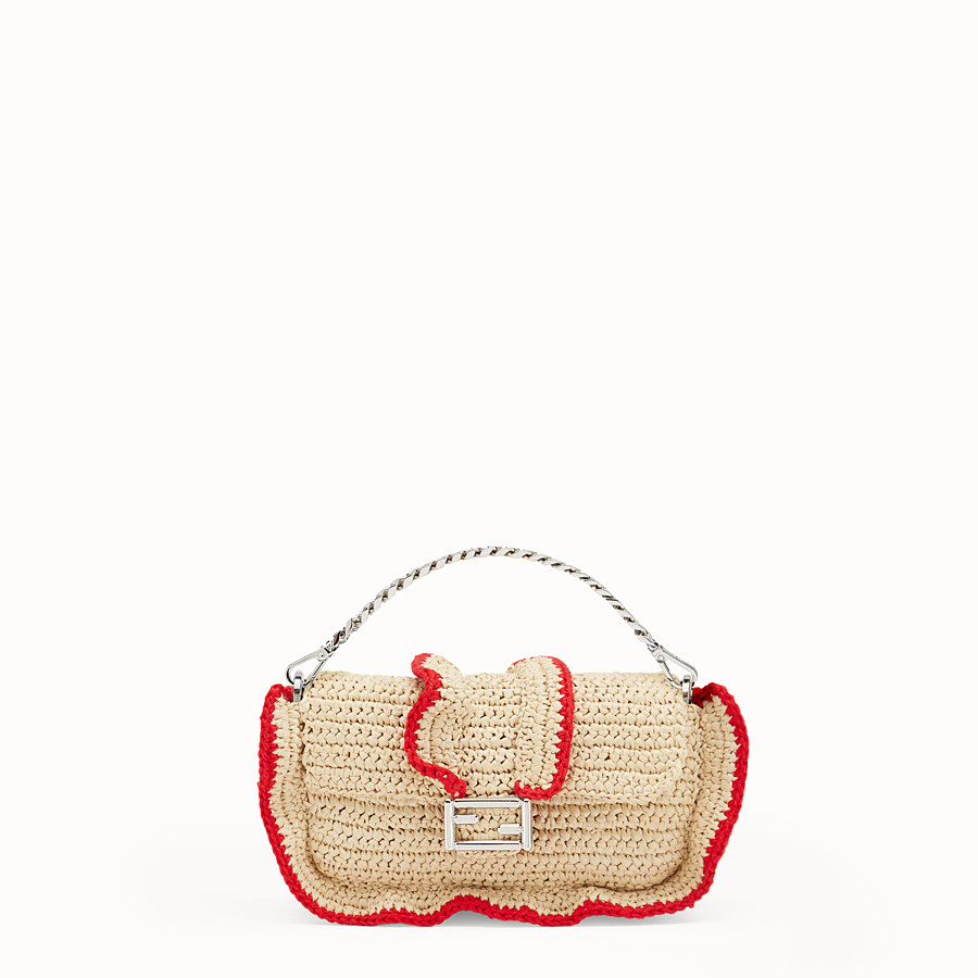 FENDI MICRO BAGUETTE - Microbag in two-tone straw - view 1 detail
