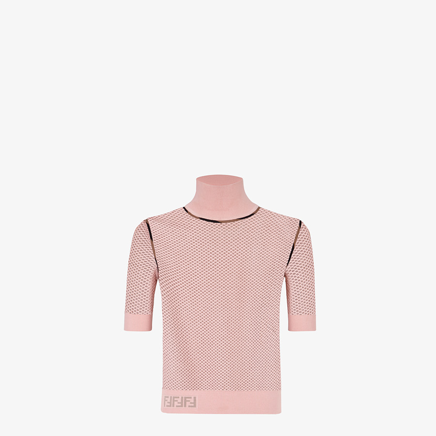 FENDI SWEATER - Pink mesh sweater - view 1 detail