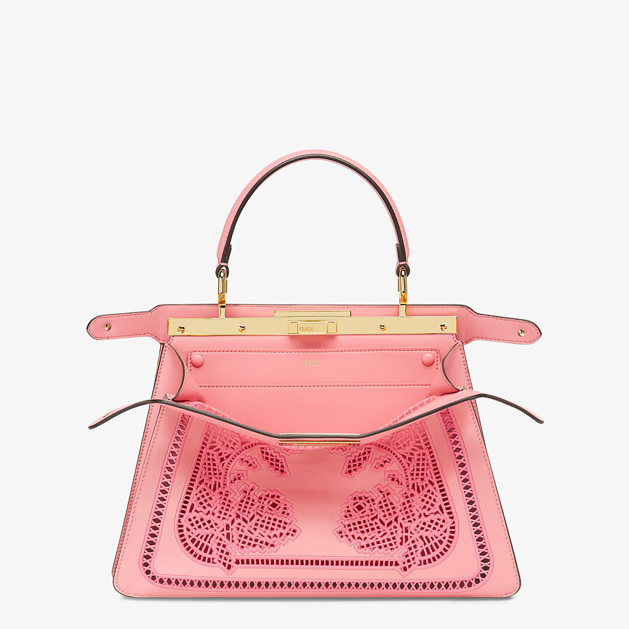 FENDI PEEKABOO ISEEU MEDIUM - Pink leather bag with embroidery - view 2 detail