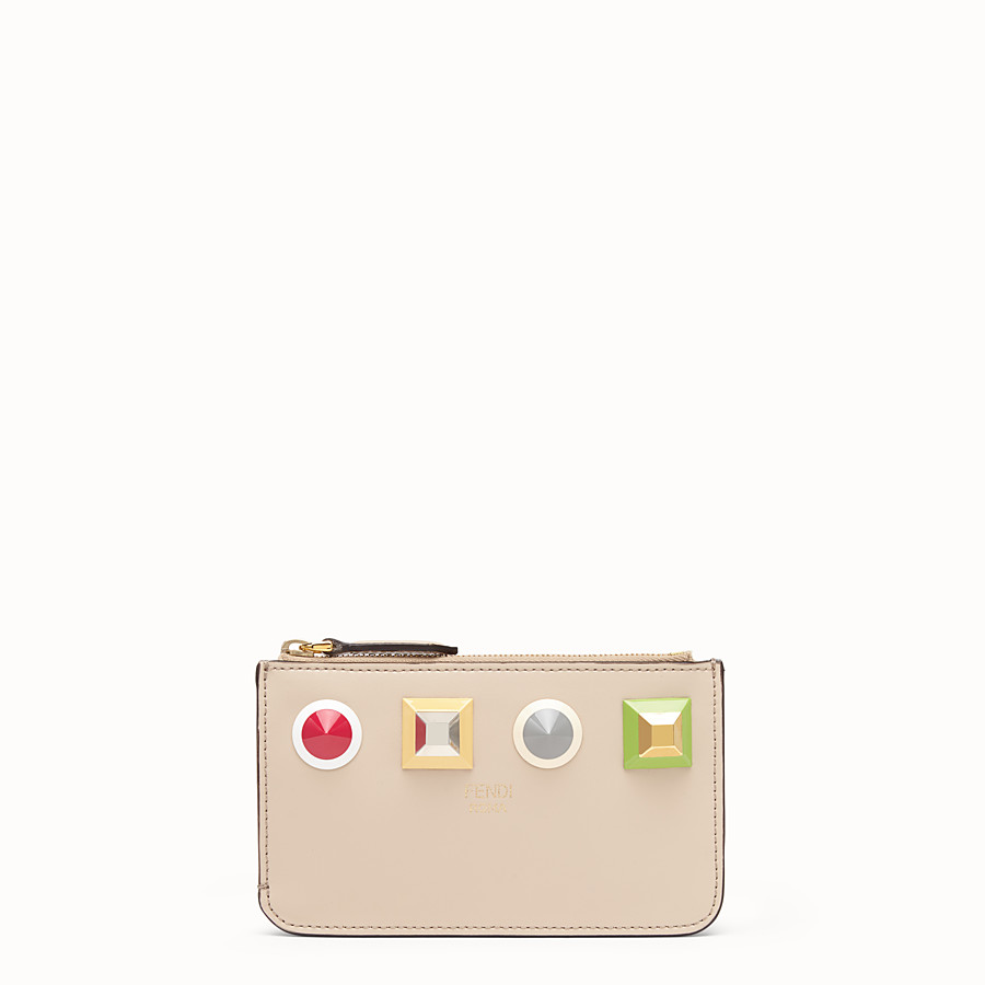 FENDI KEY RING POUCH - Beige leather pouch - view 1 detail