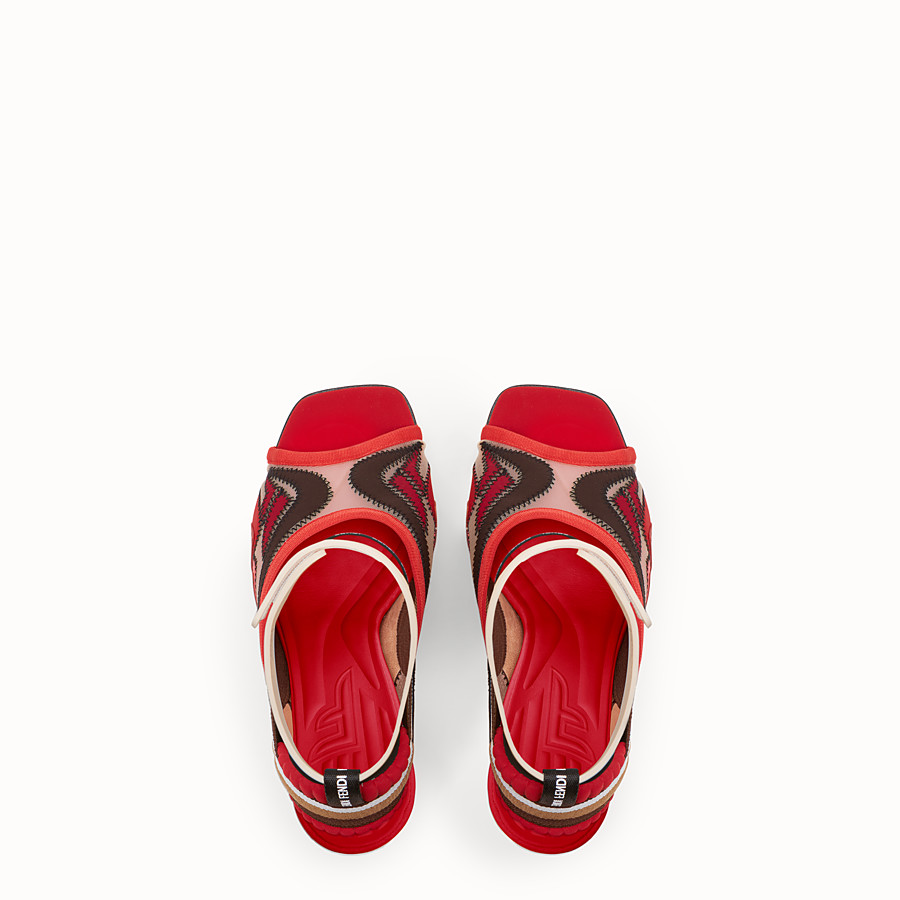 FENDI SANDALS - Red technical mesh sandals - view 4 detail