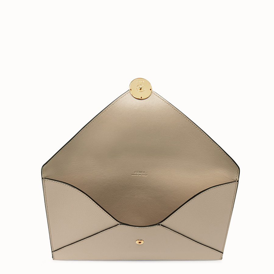 FENDI FLAT POUCH - Beige leather pouch - view 3 detail