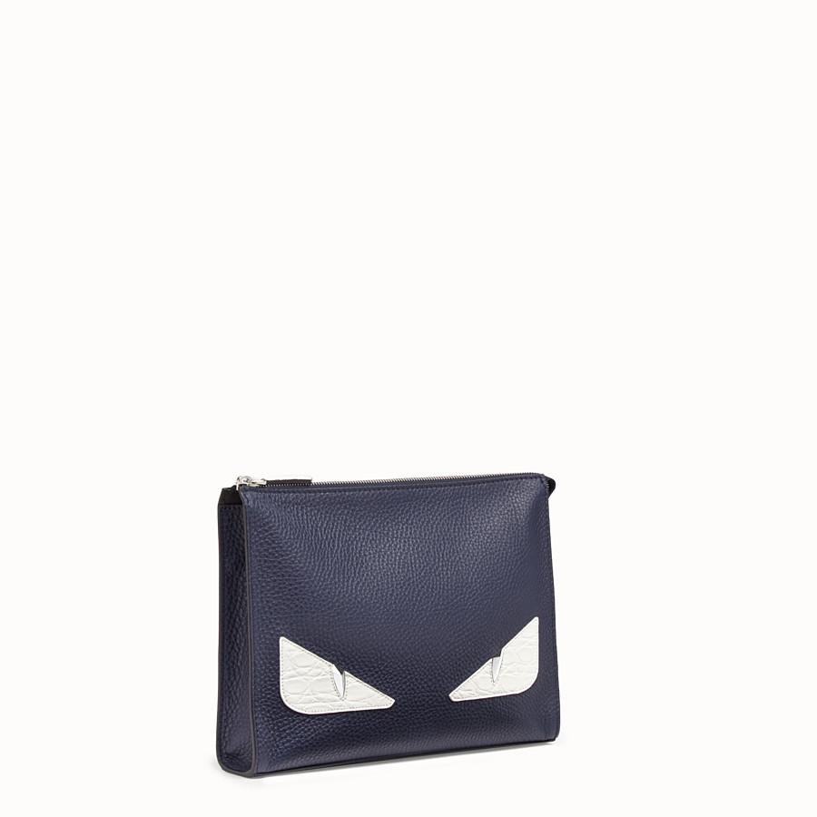 FENDI CLUTCH - Blue leather pochette - view 2 detail