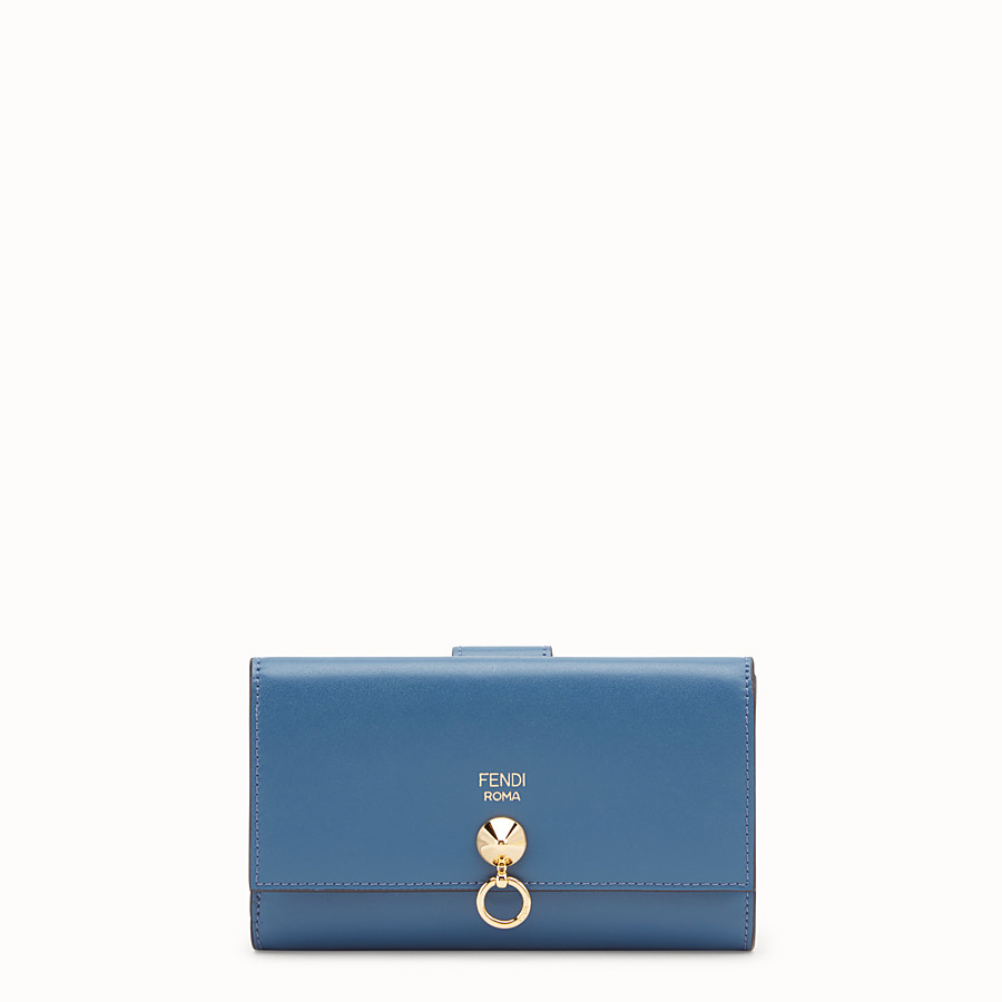 FENDI CONTINENTAL MEDIUM - Blue leather wallet - view 1 detail