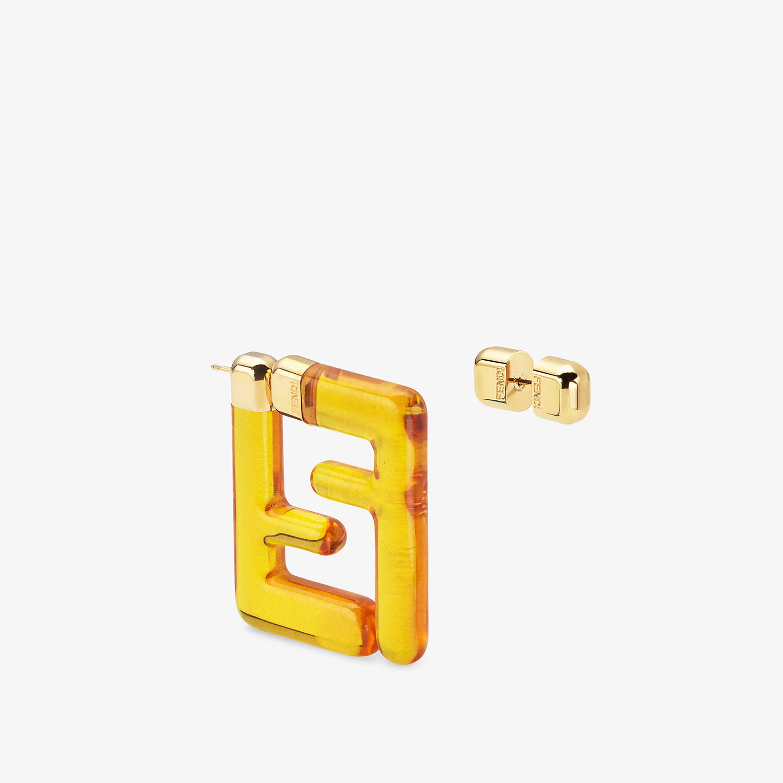FENDI FF EARRINGS SMALL - Earrings in yellow plexiglass - view 2 detail