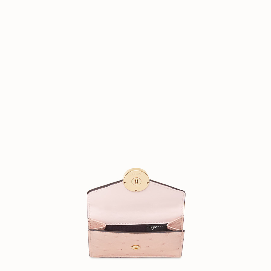 FENDI MICRO TRIFOLD - Pink ostrich leather wallet - view 3 detail