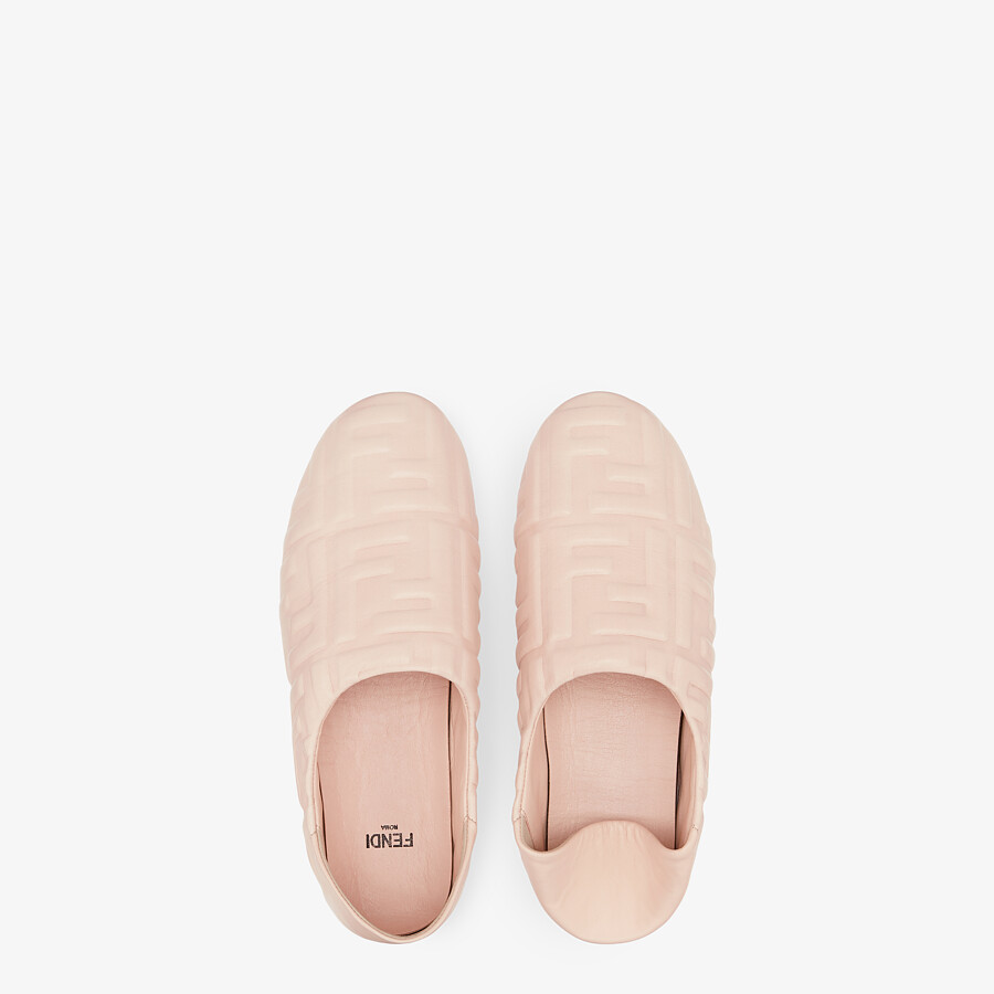 FENDI SLIPPERS - Pink nappa leather slippers - view 4 detail