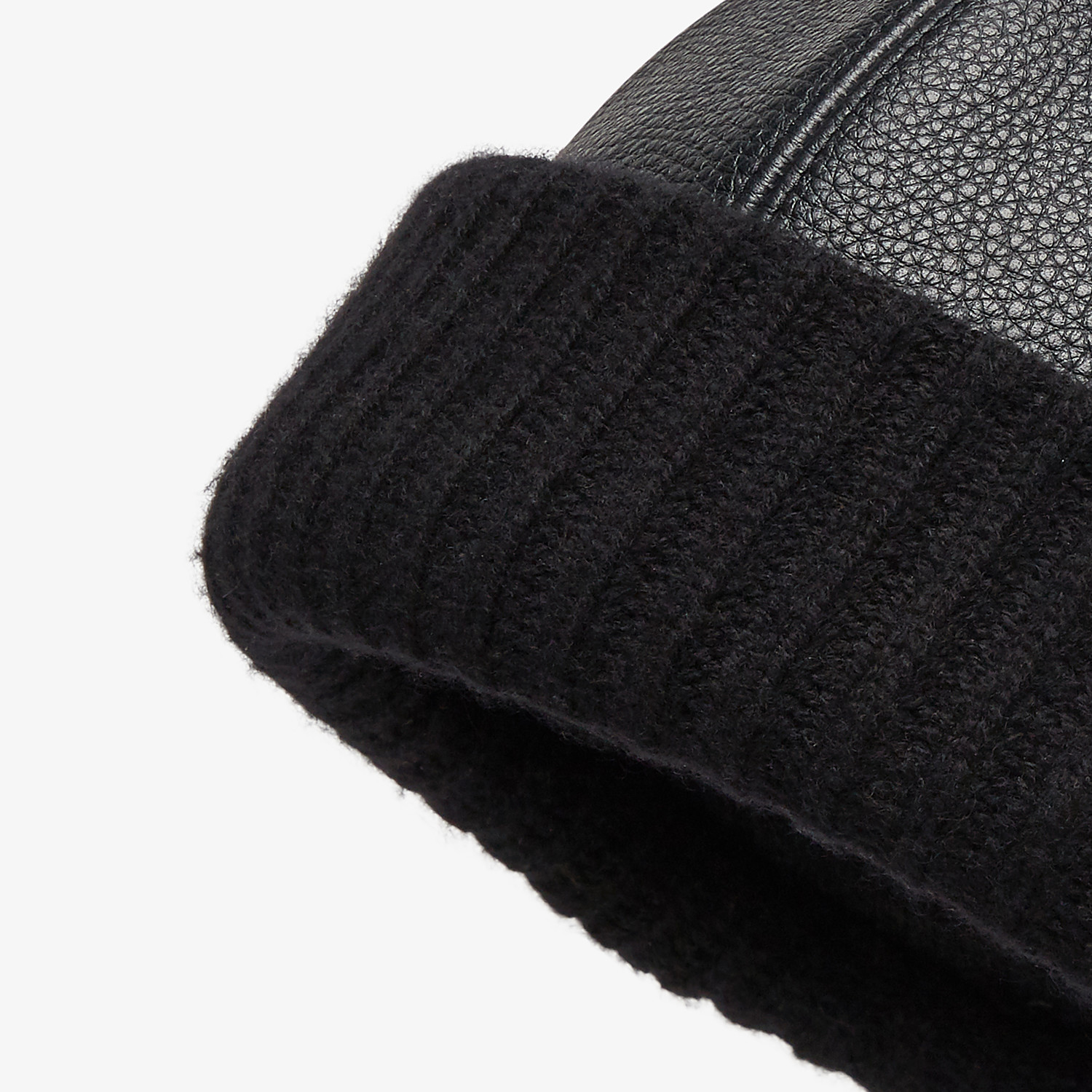 FENDI HAT - Black leather and cashmere beanie - view 2 detail