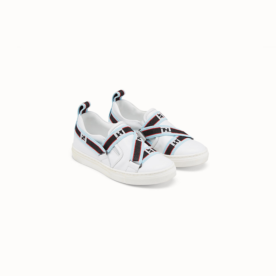 FENDI BOY SLIP-ON - White leather sneakers with multicolour ribbon - view 2 detail