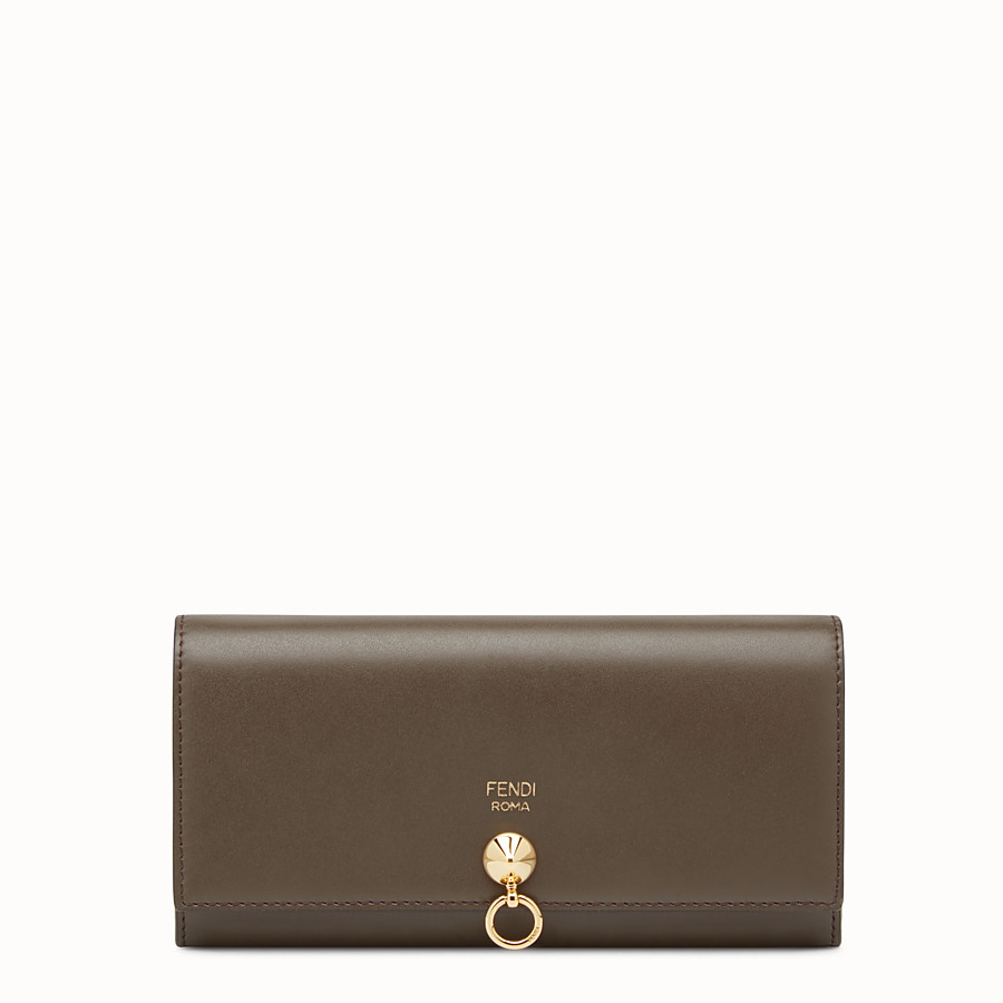 FENDI CONTINENTAL WITH CHAIN - Brown leather wallet - view 1 detail