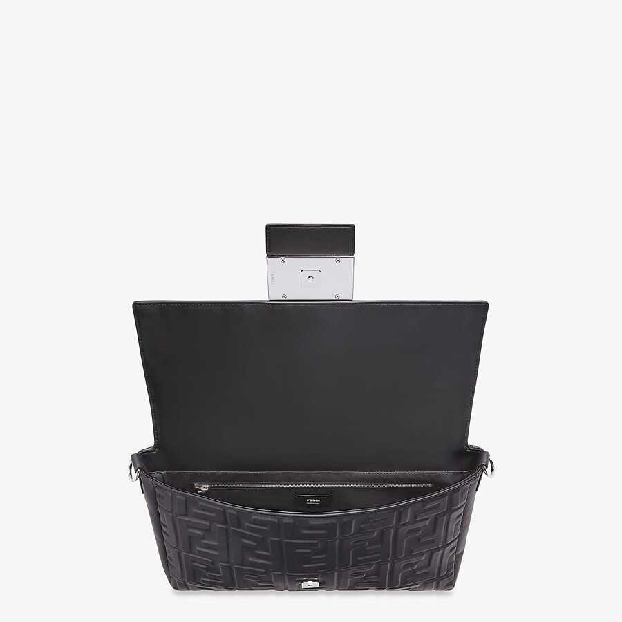 FENDI BAGUETTE LARGE - Black nappa leather bag - view 5 detail