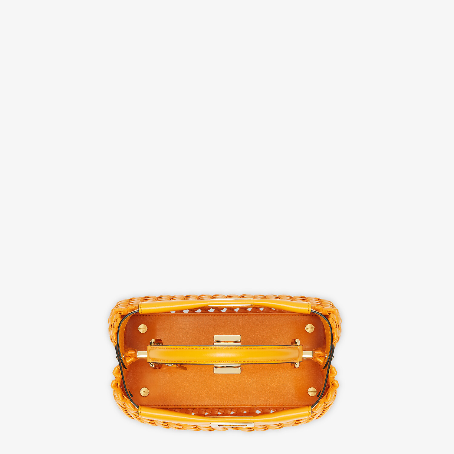 FENDI PEEKABOO ICONIC MINI - Orange braided leather bag - view 4 detail