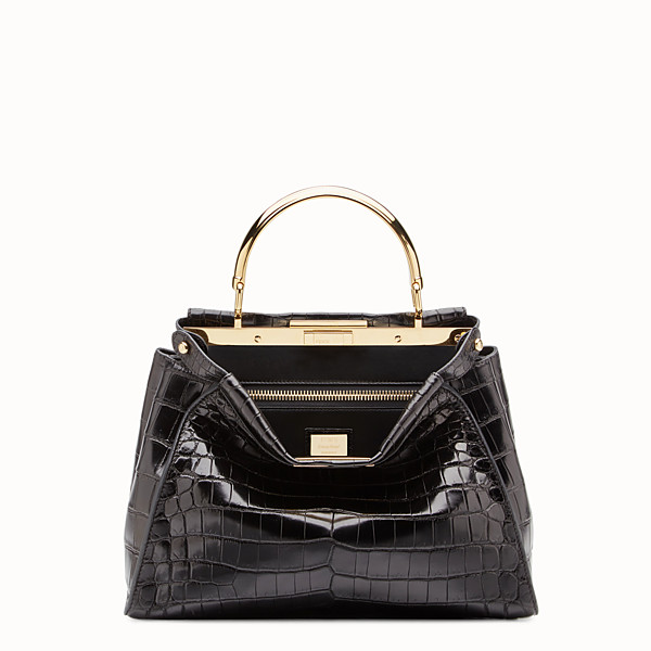 FENDI PEEKABOO REGULAR - Black crocodile leather handbag. - view 1 small thumbnail
