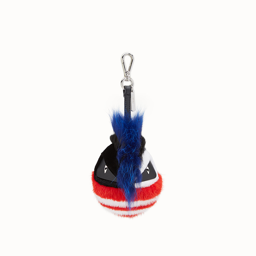 FENDI BAG BUG CHARM - Charm in blue and multicolour fur - view 2 detail