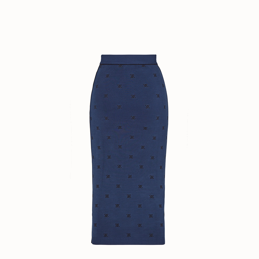 FENDI SKIRT - Blue viscose skirt - view 2 detail