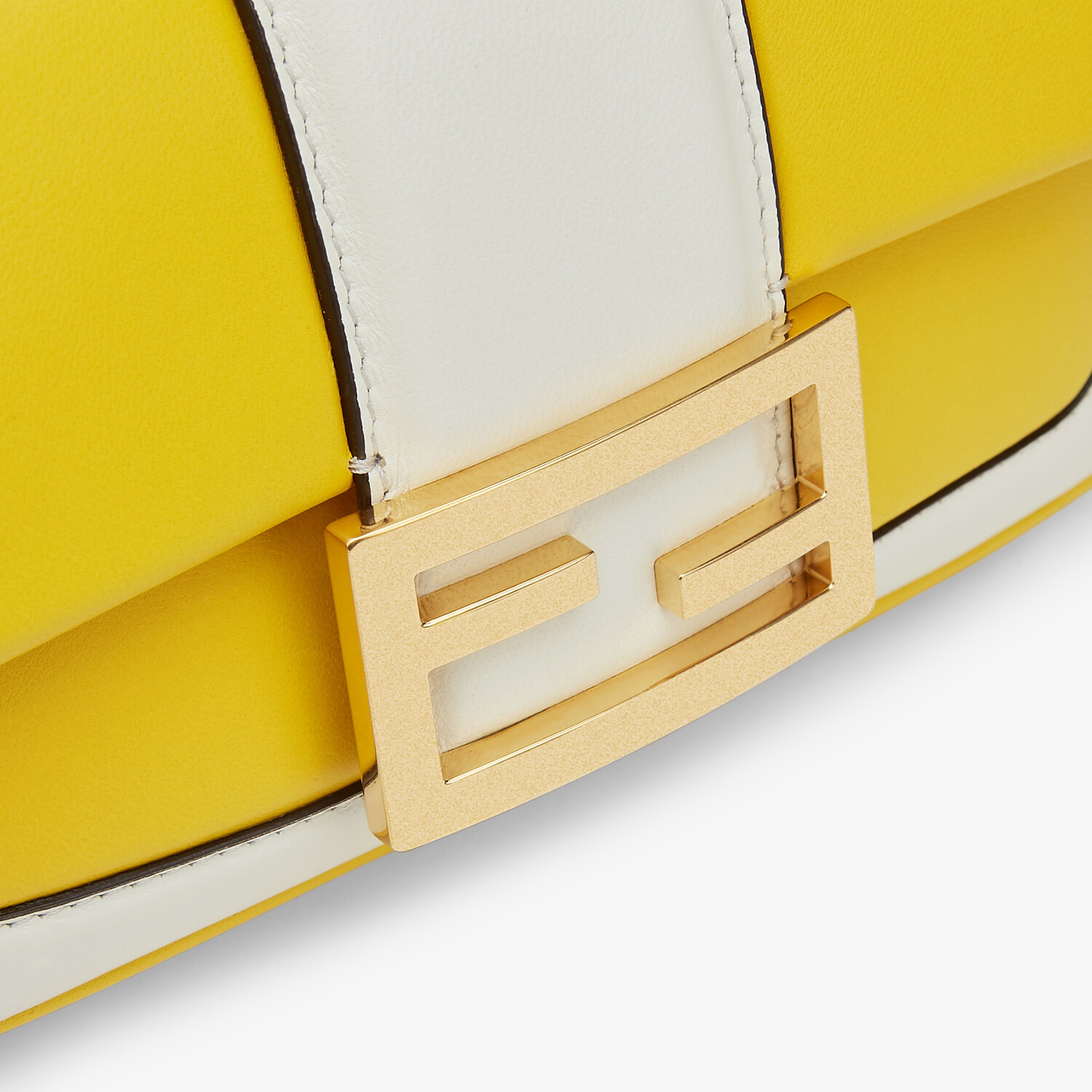 FENDI MINI BAGUETTE CHAIN - Yellow and white nappa leather bag - view 5 detail