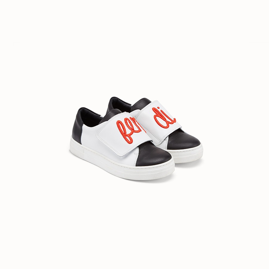 FENDI GIRL SNEAKERS - Black and white leather sneakers - view 2 detail
