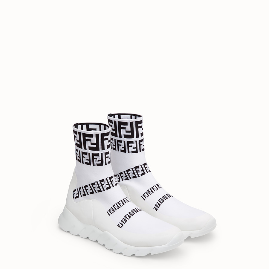 FENDI SNEAKERS - White tech fabric high-tops - view 4 detail