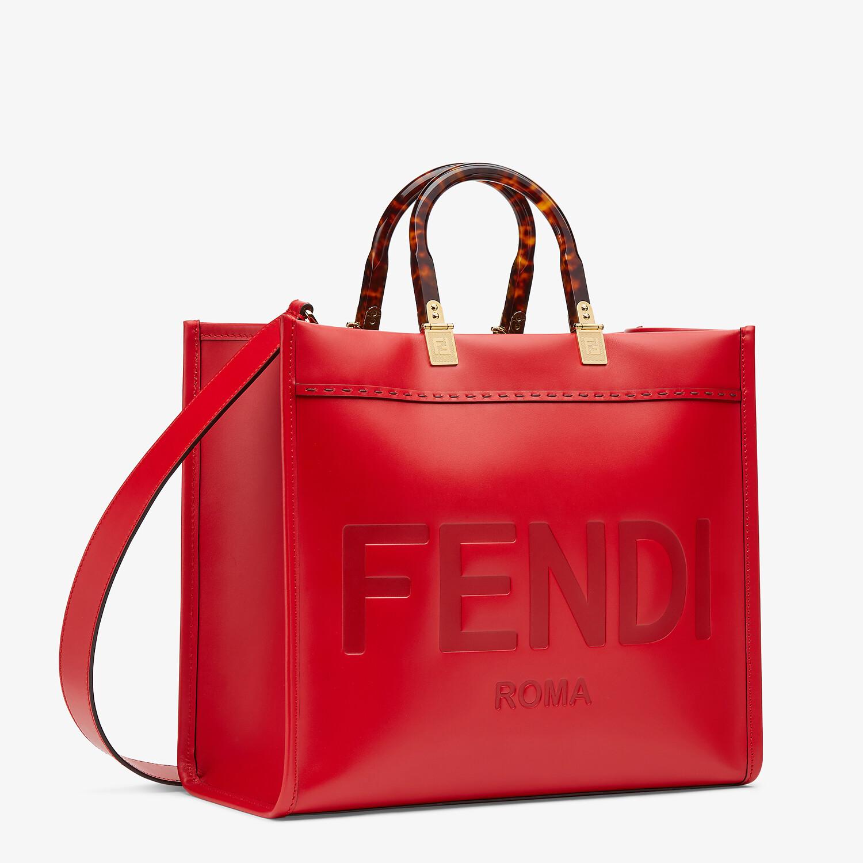 FENDI FENDI SUNSHINE MEDIUM - Red leather bag - view 2 detail