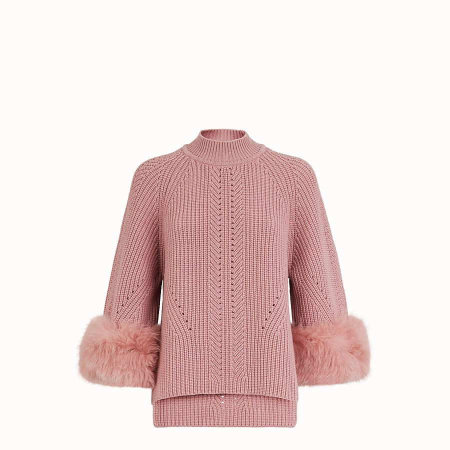 FENDI PULLOVER - Pink cashmere sweater - view 1 detail