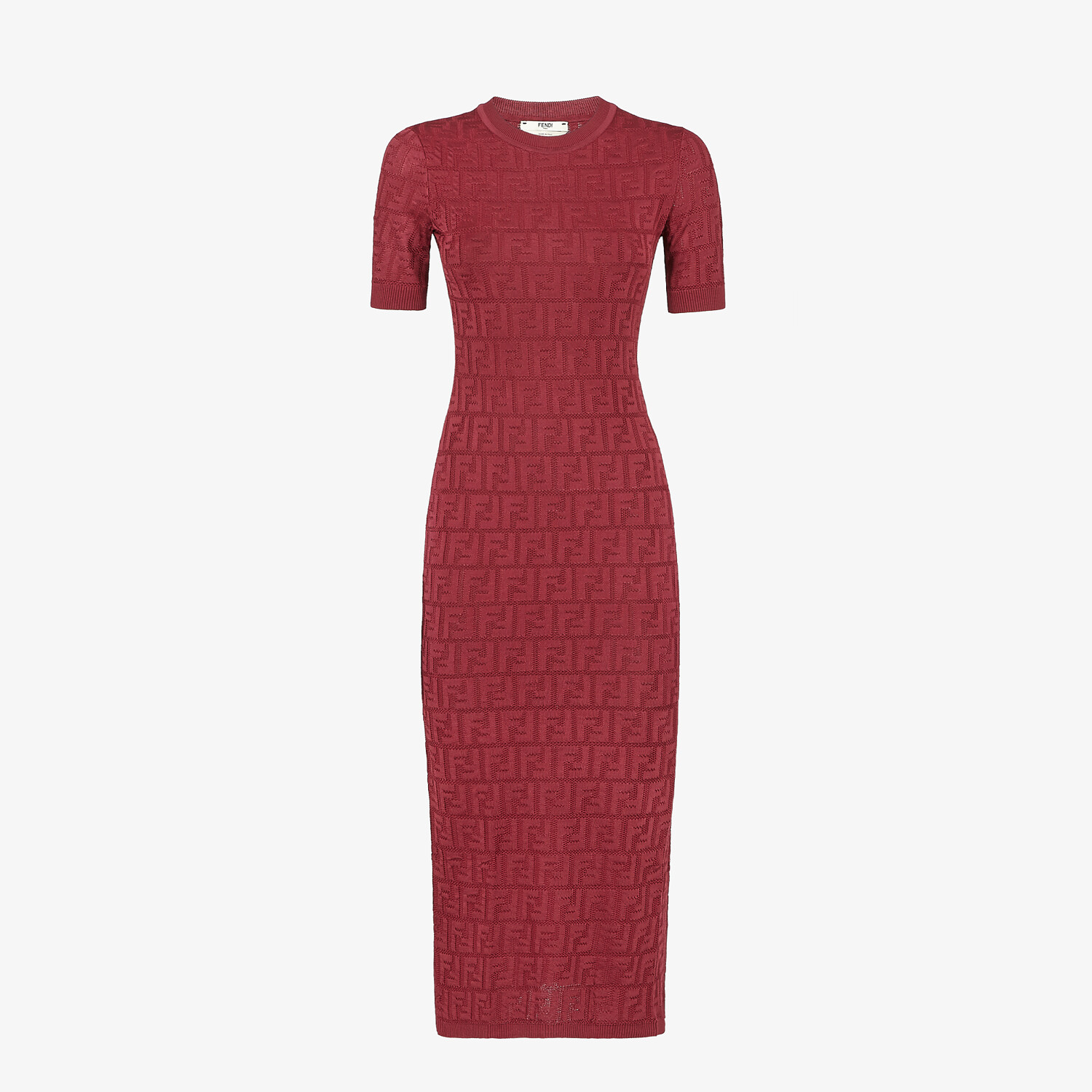 FENDI DRESS - Burgundy viscose and cotton dress - view 1 detail
