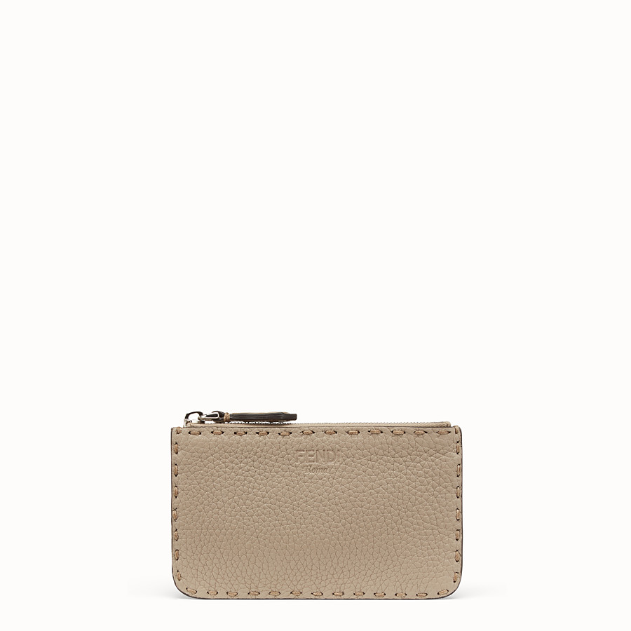 FENDI KEY RING - Beige leather pouch - view 1 detail