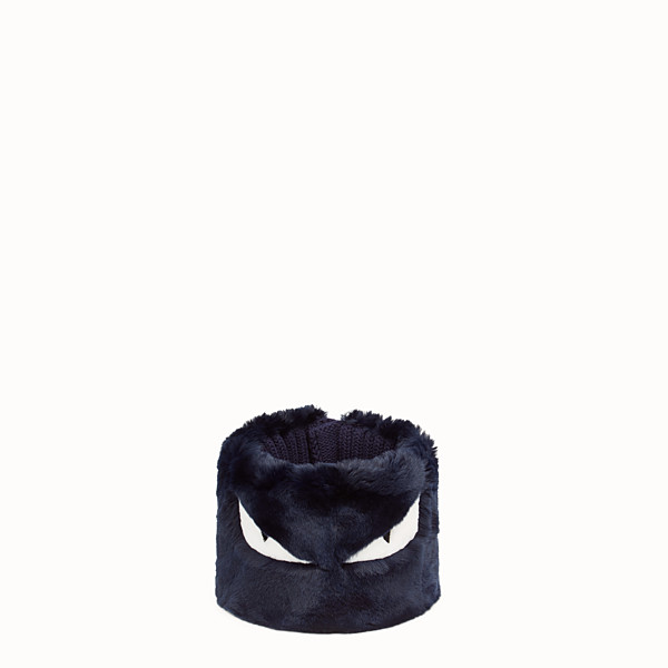 FENDI COLLAR - in blue fur and wool - view 1 small thumbnail