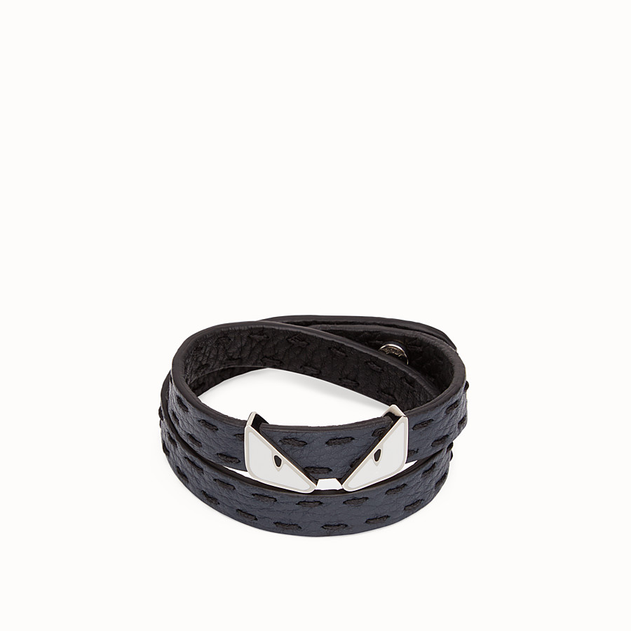 FENDI DOUBLE TOUR BRACELET - in black and blackboard blue Roman leather - view 2 detail