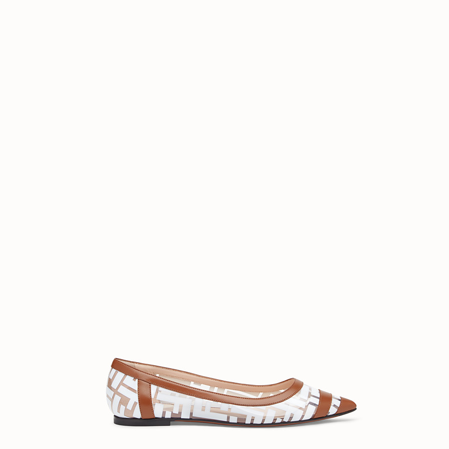 FENDI BALLERINAS - Flats in PU and white leather - view 1 detail