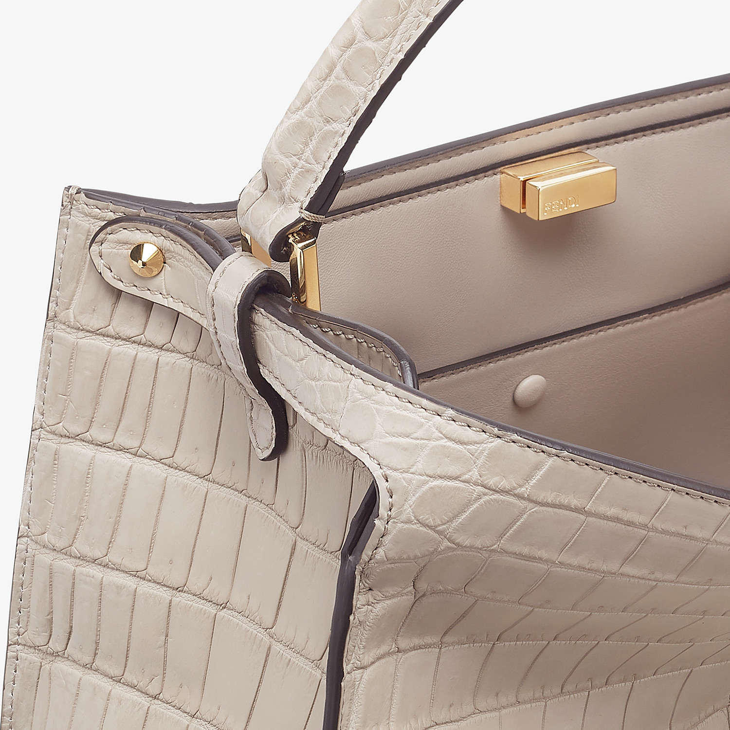 FENDI PEEKABOO X-LITE MEDIUM - Gray crocodile bag - view 7 detail