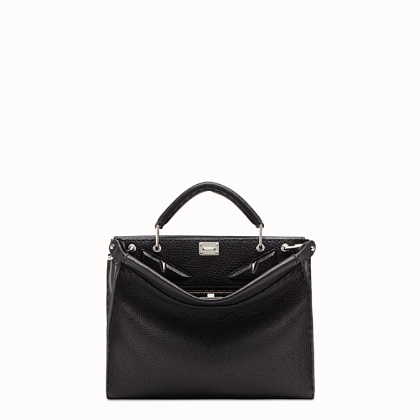 FENDI PEEKABOO ICONIC FIT MINI - Black leather bag - view 1 small thumbnail