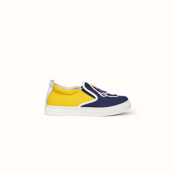 FENDI SNEAKER - Scarpa slip on In licra blu e gialla - vista 1 thumbnail piccola