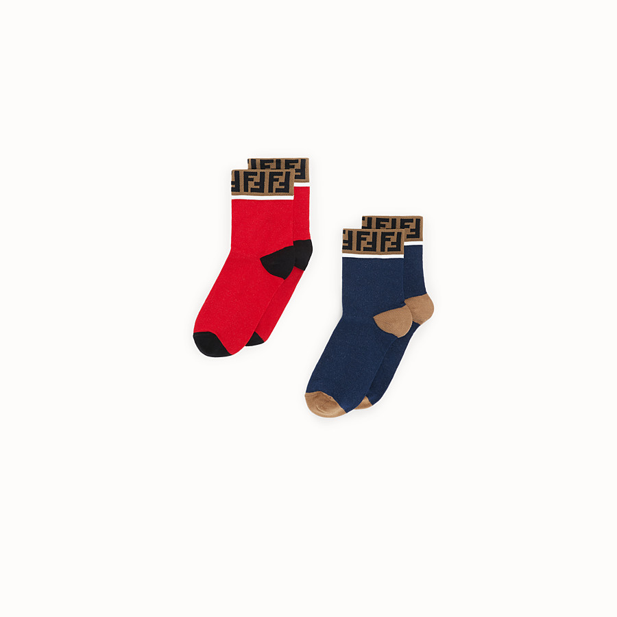 FENDI SOCKS - Pair of red and black cotton socks - view 1 detail