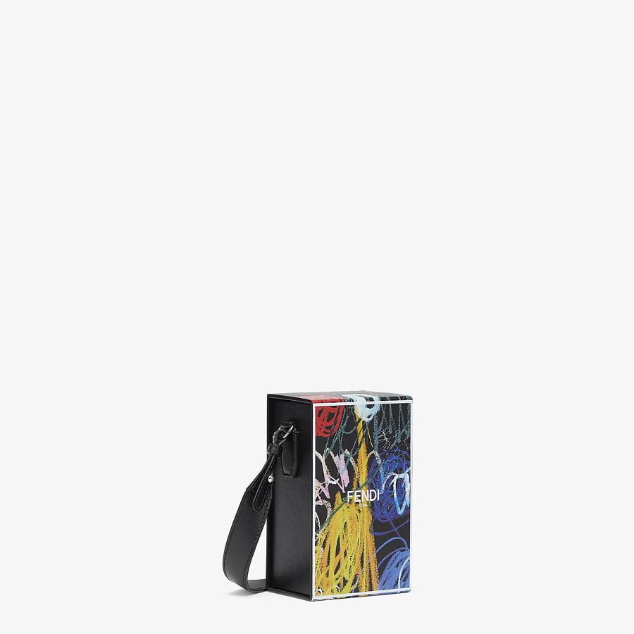 FENDI VERTICAL BOX - Leather bag with multicolor print - view 2 detail