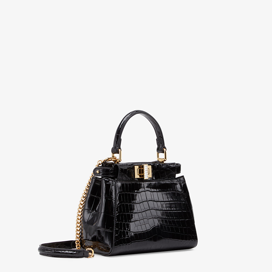 FENDI PEEKABOO ICONIC XS - Mini-bag in black crocodile - view 2 detail
