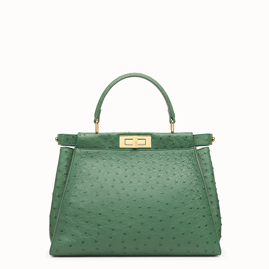 FENDI PEEKABOO REGULAR - Emerald green ostrich leather handbag. - view 1 detail