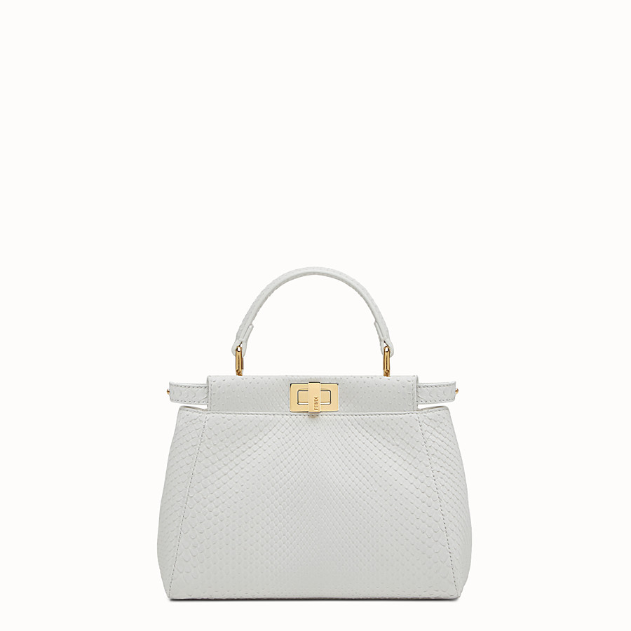 FENDI PEEKABOO MINI - White python handbag - view 1 detail