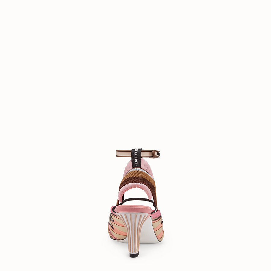FENDI SANDALS - Pink technical mesh sandals - view 3 detail