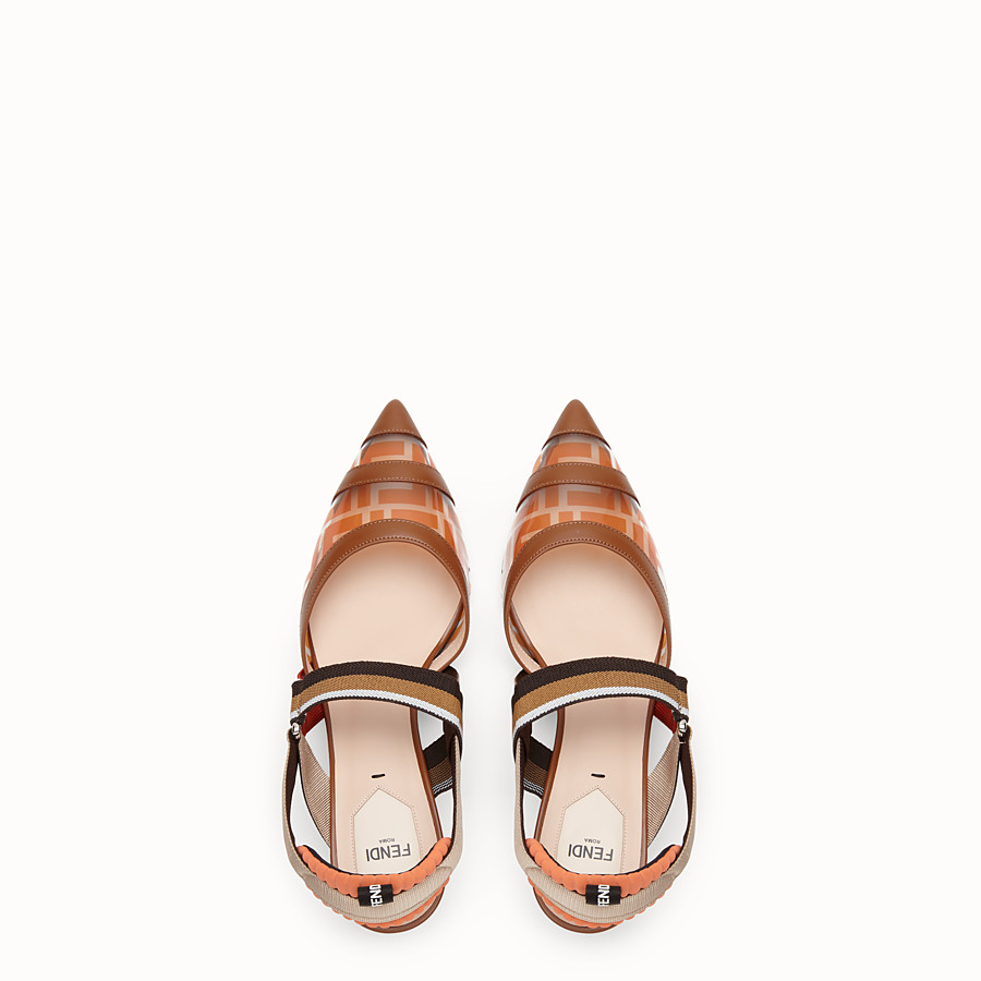 FENDI COURT SHOES - Orange leather and PU Colibrì - view 4 detail