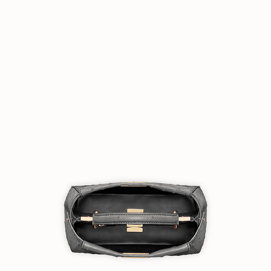 FENDI PEEKABOO MINI - Grey ostrich leather handbag. - view 4 detail