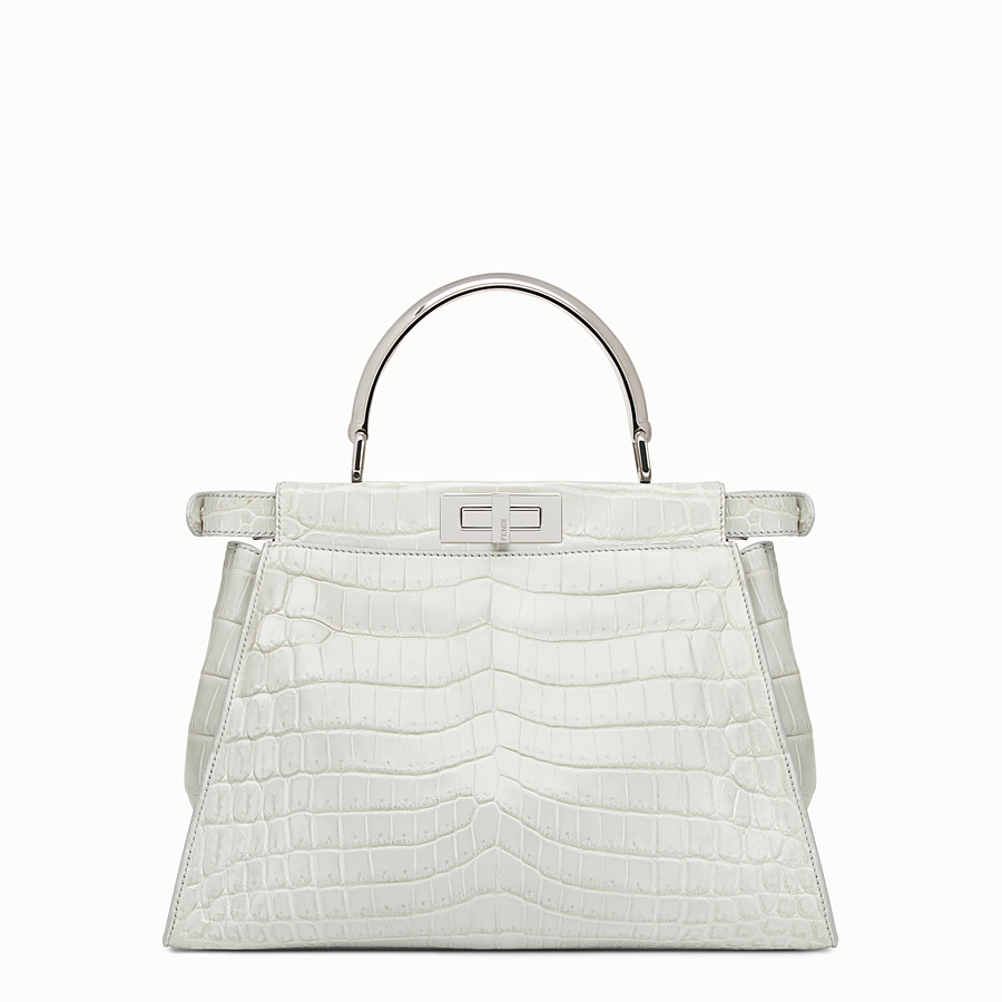FENDI PEEKABOO REGULAR - Pearl grey crocodile leather handbag. - view 3 detail