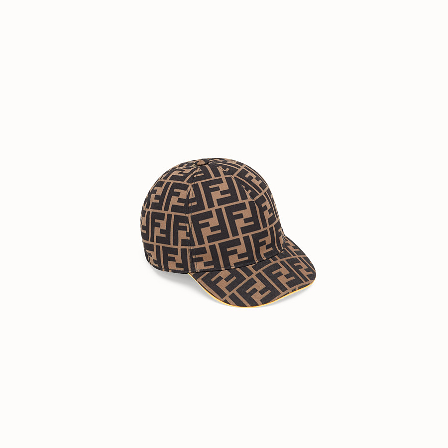 FENDI BASEBALL CAP - Tobacco canvas baseball cap - view 1 detail