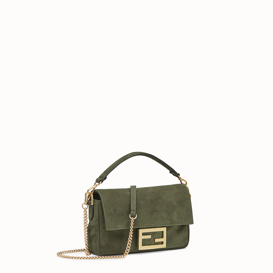 FENDI MINI BAGUETTE - Green suede bag - view 3 detail