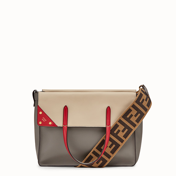 FENDI FENDI FLIP LARGE - Grey leather bag - view 1 small thumbnail
