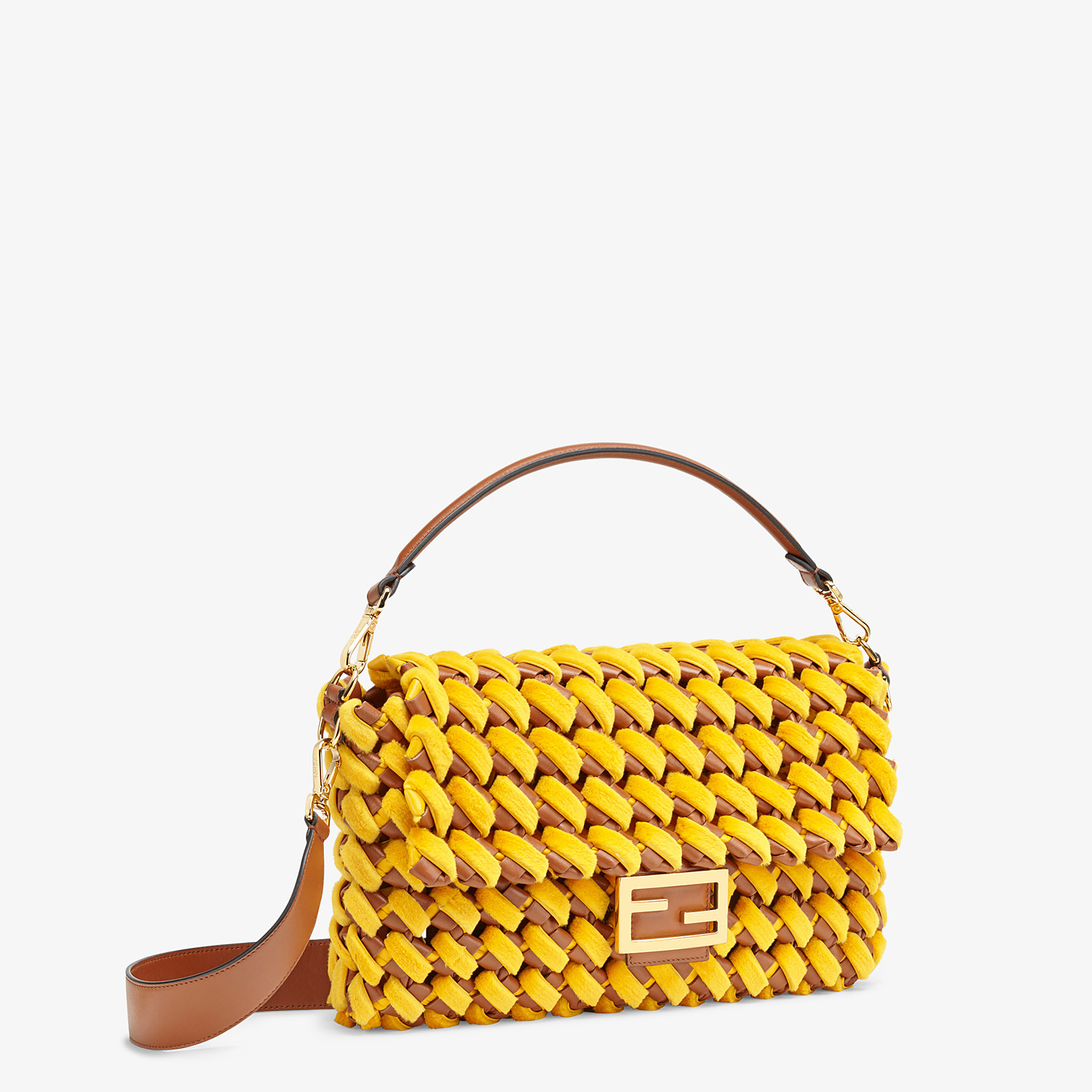FENDI BAGUETTE LARGE - Yellow mink and nappa leather bag - view 3 detail