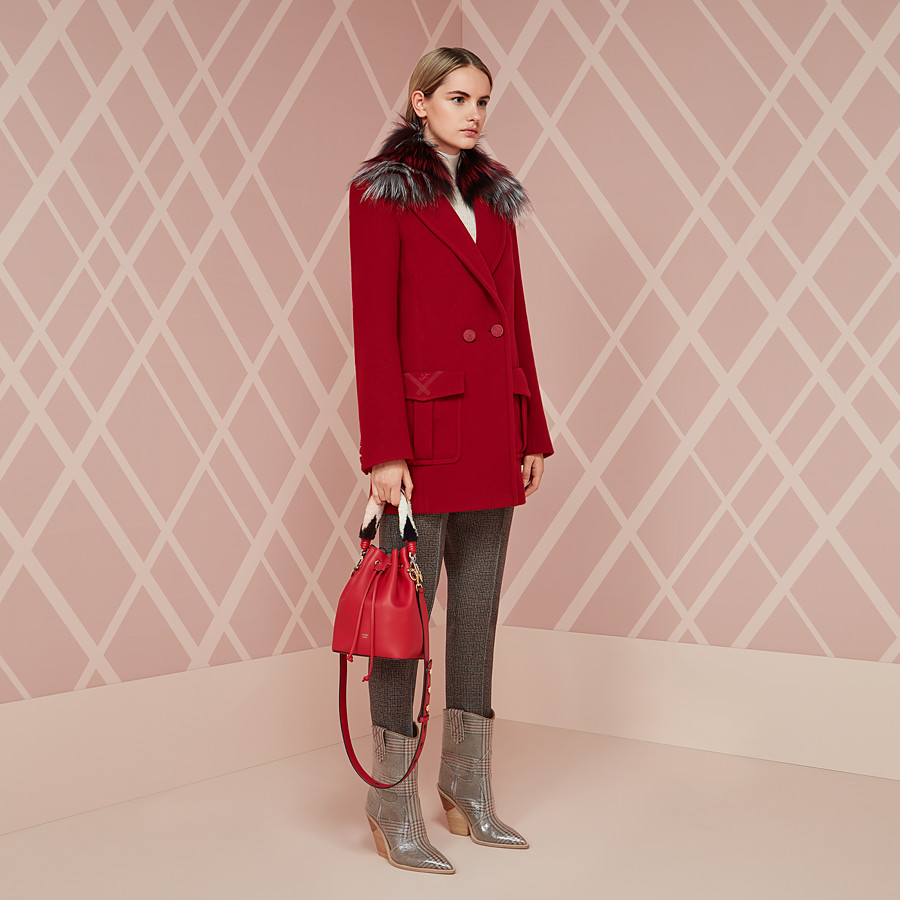FENDI COAT - Red wool pea coat - view 4 detail