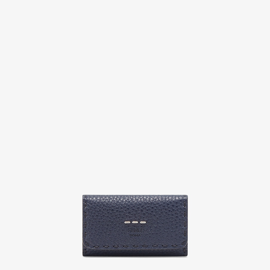 FENDI KEY RING - Blue Romano leather pouch - view 1 detail