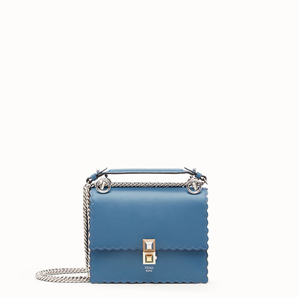 FENDI KAN I SMALL - Blue leather mini-bag - view 1 small thumbnail