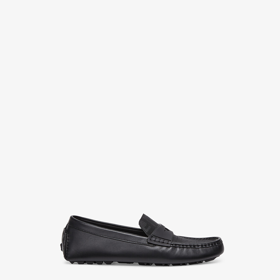 FENDI FF DRIVERS - Black leather driver loafers - view 1 detail