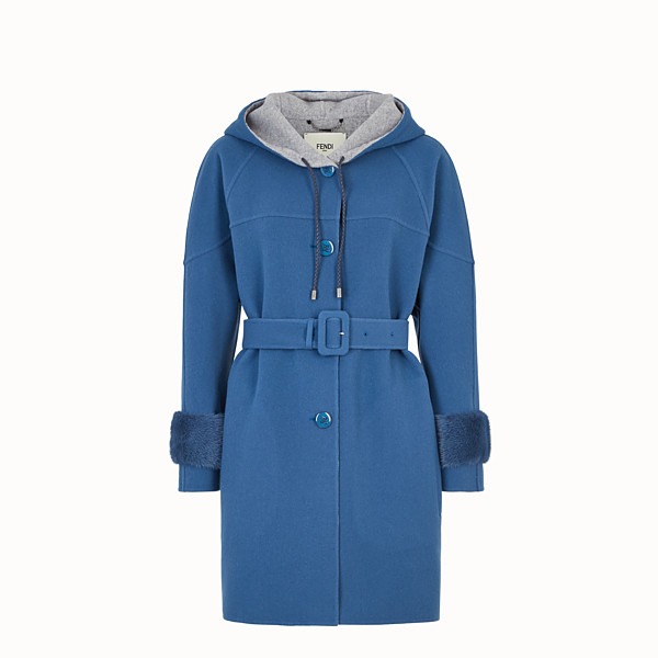 FENDI OVERCOAT - Blue wool parka - view 1 small thumbnail